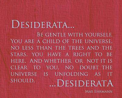 Ehrmann Mixed Media - Desiderata On Red Canvas by Dan Sproul