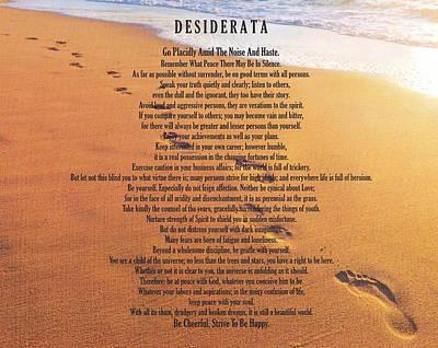 Desiderata Poem On Footprints Typography Art Art Print by Desiderata Gallery