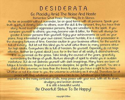 Desiderata Poem On Golden Sunset Art Print by Desiderata Gallery