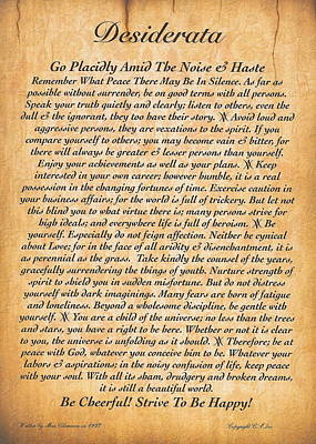 Desiderata Poster On Antique Embossed Wood Paper Art Print by Desiderata Gallery