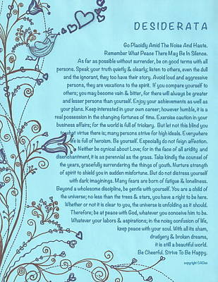 Desiderata Poster With Bluebird Of Happiness Singing A Love Song Art Print by Desiderata Gallery