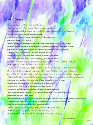 World Peace Mixed Media - Desiderata Watercolor Abstract by Barbara Griffin