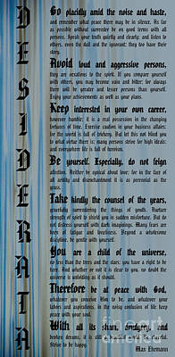 Photograph - Desiderata 14 by Wendy Wilton