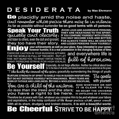 Art Print featuring the digital art Desiderata - White Text On Black Background - Reversed Type by Ginny Gaura