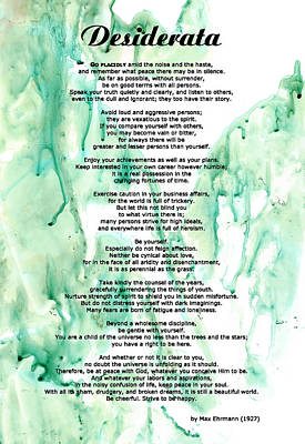 Desiderata Poem Painting - Desiderata - Words Of Wisdom by Sharon Cummings
