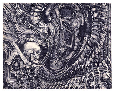 Hr.giger Drawing - Design-01 by Joseph Capuana