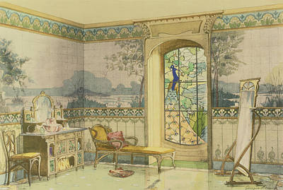 Glass Drawing - Design For A Bathroom, From Interieurs by Georges Remon