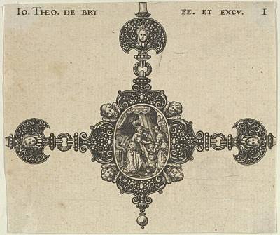 Theodor De Bry Drawing - Design For A Brooch With Judith Holding by Johann Theodor de Bry