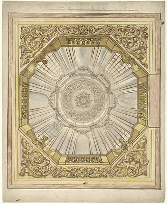 Dome Painting - Design For A Ceiling Painting With Illusionistic Dome by Quint Lox