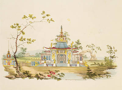 Garden Drawing - Design For A Chinese Temple, C.1810 by G. Landi