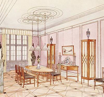 Modernism Drawing - Design For A Dining Room by Paul Ludwig Troost