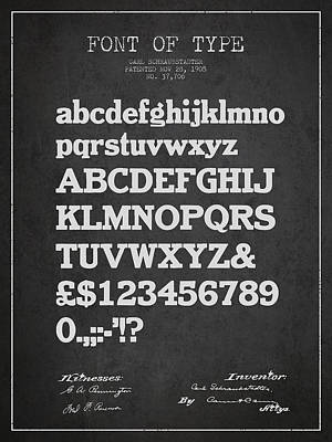 Alphabet Digital Art - Design For A Font Of  Type Patent Drawing From 1905 - Dark by Aged Pixel