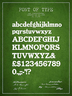 Alphabet Digital Art - Design For A Font Of  Type Patent Drawing From 1905 - Green by Aged Pixel