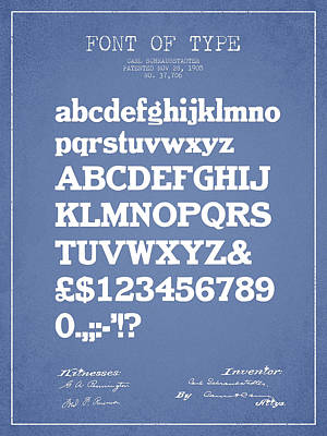 Alphabet Digital Art - Design For A Font Of  Type Patent Drawing From 1905 - Light Blue by Aged Pixel