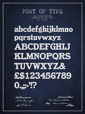 Alphabet Digital Art - Design For A Font Of  Type Patent Drawing From 1905 - Navy Blue by Aged Pixel