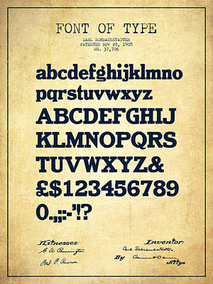 Drawing - Design For A Font Of  Type Patent Drawing From 1905 - Vintage by Aged Pixel