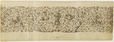 Grapevine Drawing - Design For A Frieze Of Grapevines Virgil Solis by Litz Collection