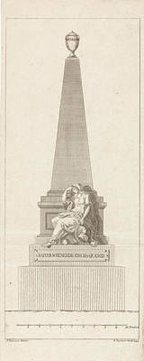 Headstones Drawing - Design For A Headstone In Memory Of Pieter Nieuwland by R. Ziesenis