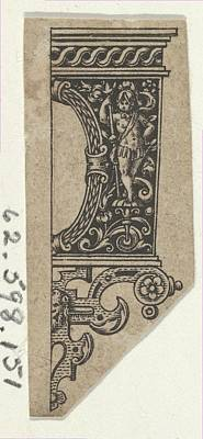 Theodor De Bry Drawing - Design For A Knife Handle Fragment by Johann Theodor de Bry