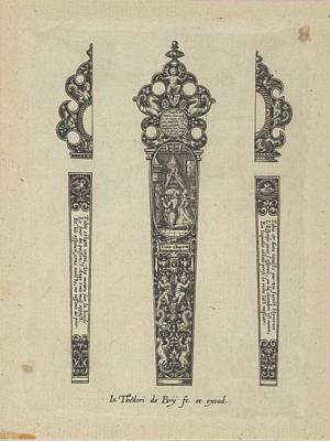 Theodor De Bry Drawing - Design For A Knife Handle With A Scene by Johann Theodor de Bry
