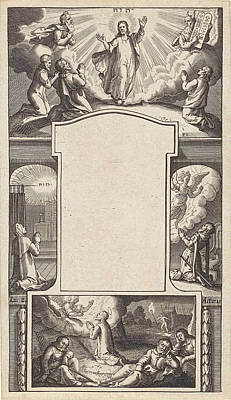 Prayer Drawing - Design For A Title Page, Pieter Serwouters by Pieter Serwouters