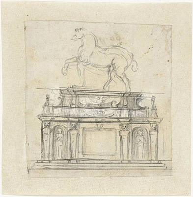 Michelangelo Art Drawing - Design For An Equestrian Statue Of Henry II Of France by Quint Lox