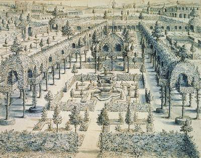 Garden Drawing - Design For An Ornamental Garden, 1576 by Hans or Jan Vredeman de Vries
