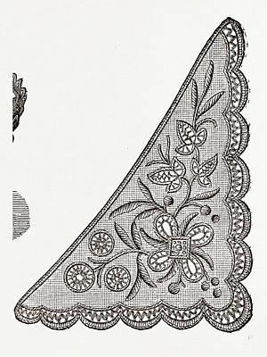 Design For Collarette, Needlework, 19th Century Embroidery Art Print