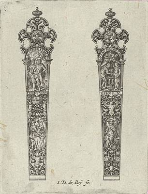 Theodor De Bry Drawing - Design For Knife Handles With Sine by Johann Theodor de Bry