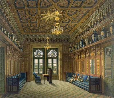 Stained Drawing - Design For The Grand Reception Room by Karl Ludwig Wilhelm Zanth