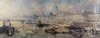 London Skyline Painting - Design For The Thames Embankment by Thomas Allom