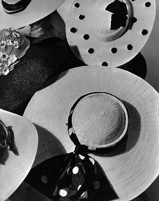 1935 Photograph - Designer Cartwheel Hats by Horst P. Horst
