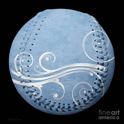 Photograph - Designer Light Blue Baseball Square by Andee Design