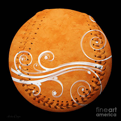 Photograph - Designer Orange Baseball Square by Andee Design