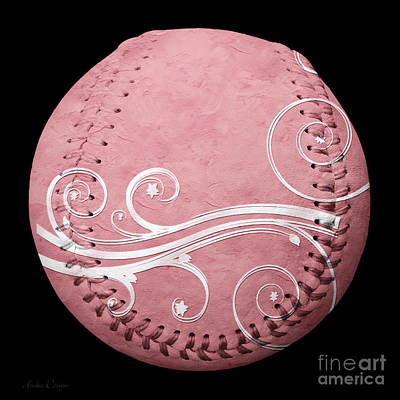 Lace Mixed Media - Designer Pink Baseball Square by Andee Design