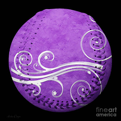 Photograph - Designer Purple Baseball Square by Andee Design