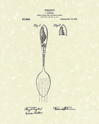 Drawing - Designer Spoon 1915 Patent Art by Prior Art Design