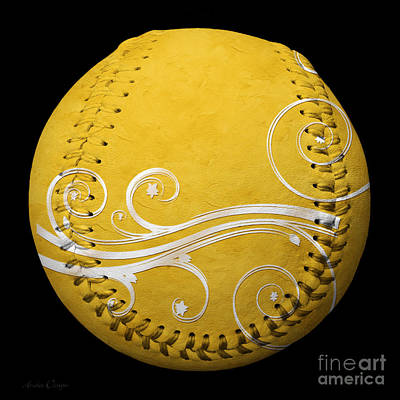 Photograph - Designer Yellow Baseball Square by Andee Design
