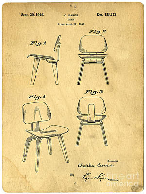Chair Drawing - Designs For A Eames Chair by Edward Fielding
