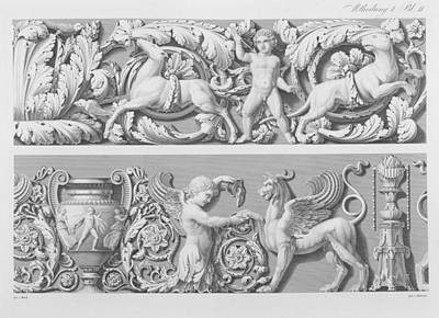 Griffin Drawing - Designs For Classical Friezes by German School