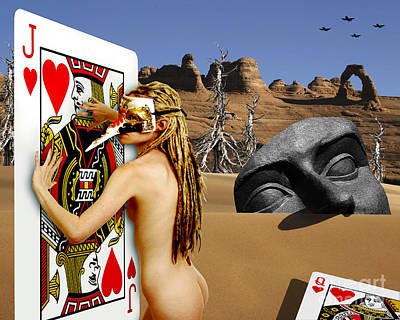Desire And The Jack Of Hearts Art Print by Keith Dillon