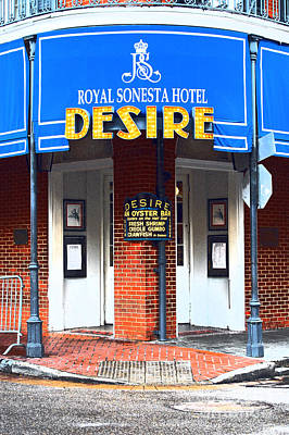 Photograph - Desire Corner Bourbon Street French Quarter New Orleans Film Grain Digital Art by Shawn O'Brien