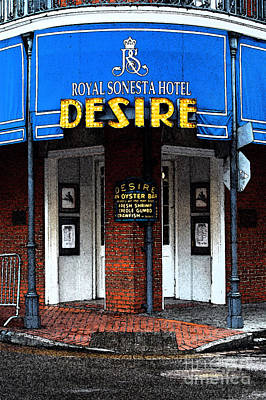 New Orleans Photograph - Desire Corner Bourbon Street French Quarter New Orleans Fresco Digital Art by Shawn O'Brien