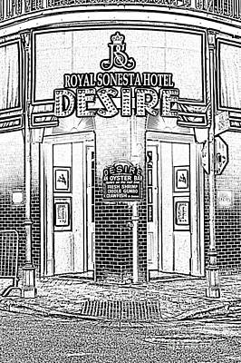 Digital Art - Desire Corner Bourbon Street French Quarter New Orleans Photocopy Digital Art by Shawn O'Brien