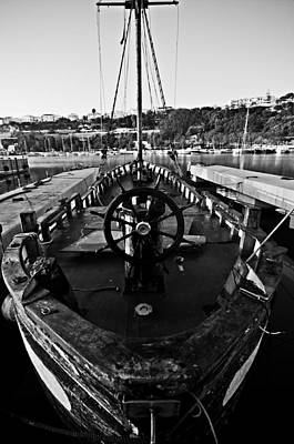 Sailing Photograph - Vintage Tall Ship In Black And White - Desire Of Sea by Pedro Cardona