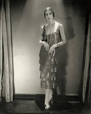 Earrings Photograph - Desiree Lubowska Wearing A Chanel Dress by Edward Steichen