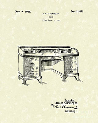 Drawing - Desk 1926 Patent Art by Prior Art Design