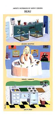 Jacques Drawing - 'desks' Fish Tanks by Kathy Osborn