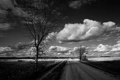 Art For The Bathroom Photograph - Desolate Country Road Bw by Donald  Erickson