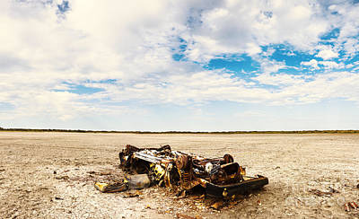 Rusty Car Photograph - Desolate Desert Wasteland. Deception Bay by Jorgo Photography - Wall Art Gallery